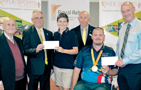 Photo of Jonathon and Rory receiving their Ryde Sports Foundation Awards