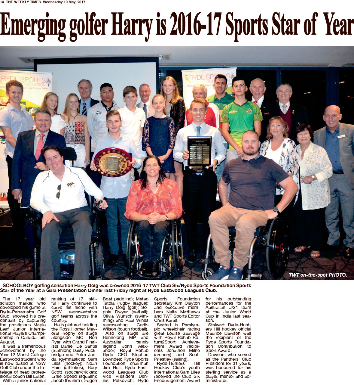 The Weekly Times article regarding the Ryde Sports Founation 2017 Annual Awards