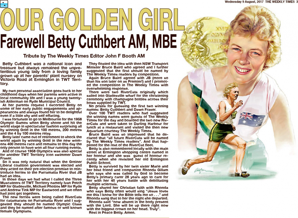 TWT article re death of Betty Cuthbert AM MBE