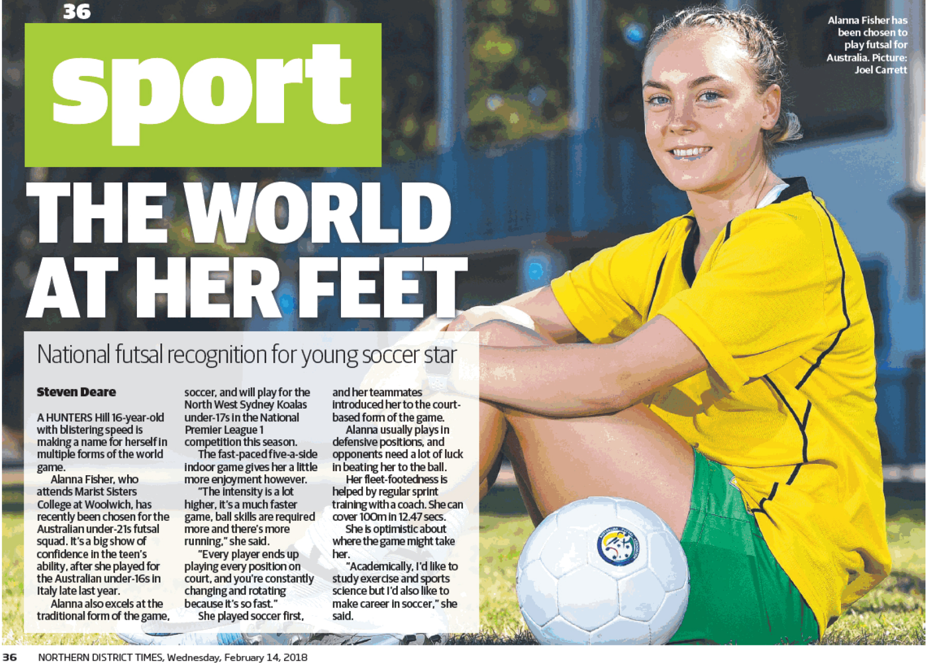 """The Northern District Times"" 14 Feb 2018 article re Alanna Fisher"