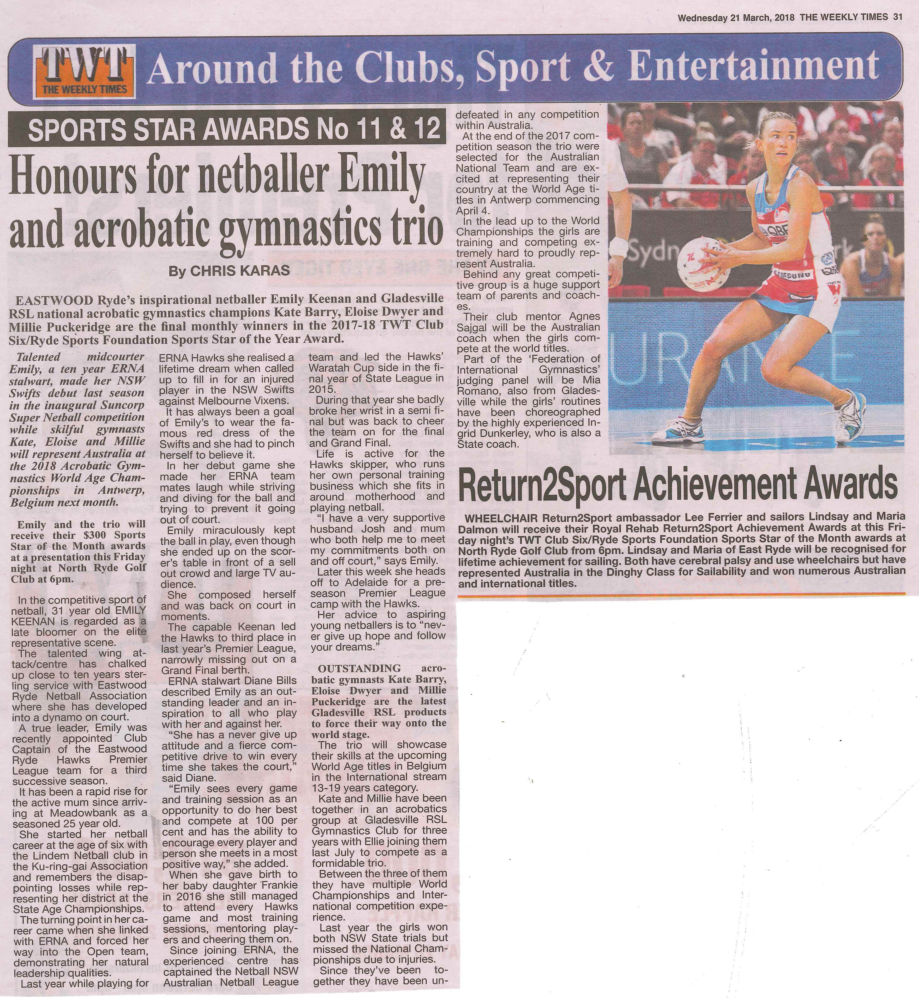 Sports Star Awards Nos 11 & 12 – Ryde Sports Foundation