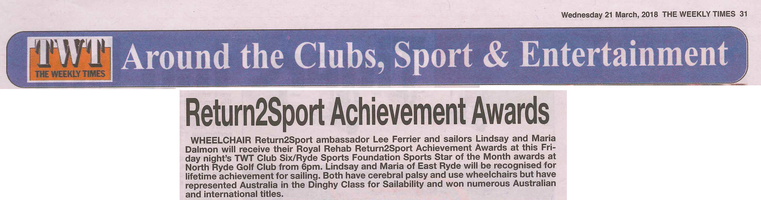 The Weekly Times article 21 Mar 2018 Royal Rehab Achievement Awards