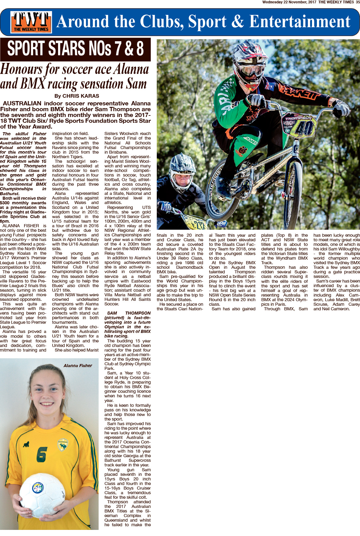 The Weekly Times 22 November 2017 article about Alanna Fisher