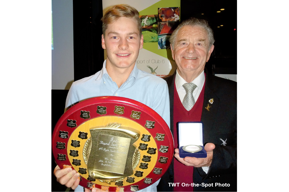 Photo of Harry Doig accepting the Ryde Sports Foundation Sport Star of 2016-17 Award