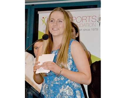 Photo of Maddy Bergfield making her 2015 Ryde Sports Foundation Encouragement Award speech