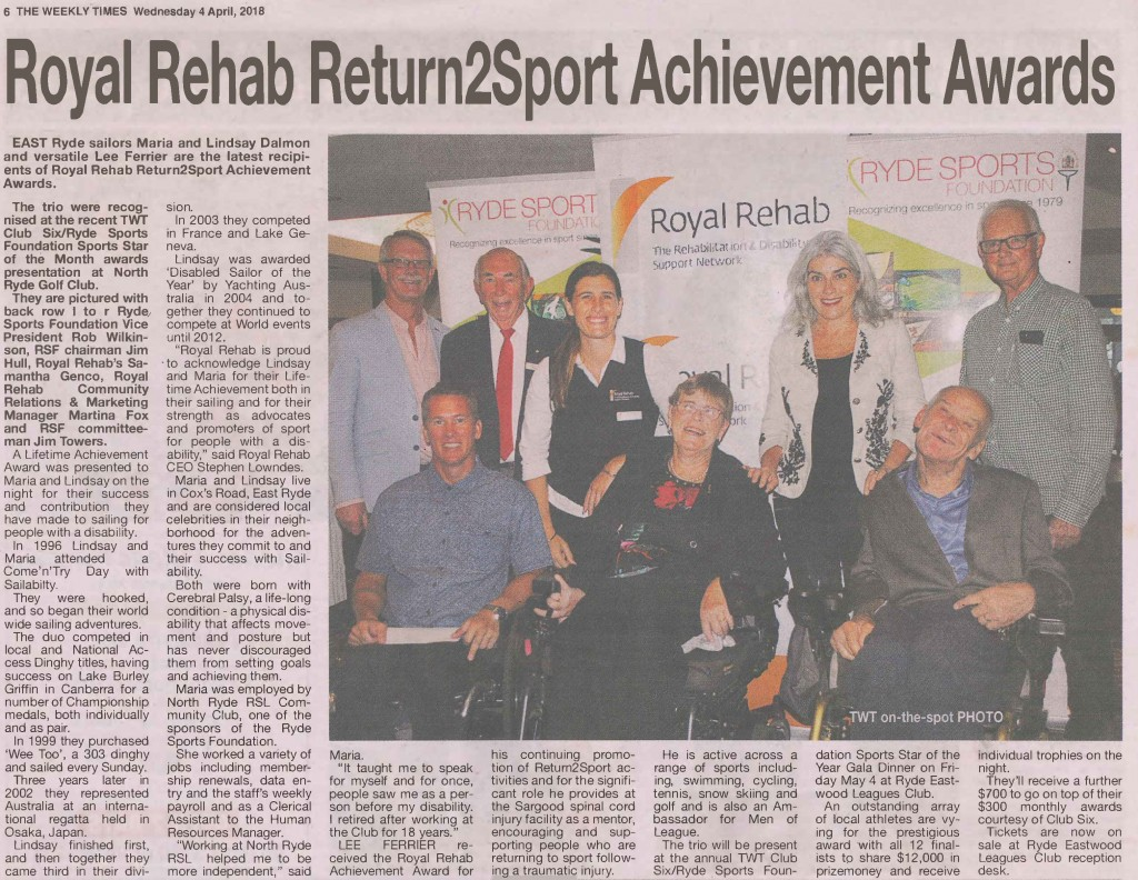 Photo of The Weekly Times article published Wednesday 4 April 2018 re Royal Rehab Return2Sport Achievement Awards