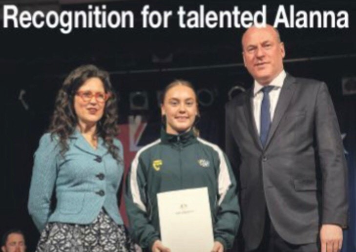 Photo of Alanna Fisher receiving 2018 North Sydney Regional Community Sports Achievement Honour