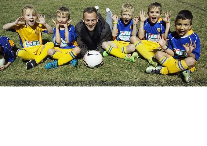 Photo of Alex Wilkinson and North Ryde Soccer Club players courtesy TWT 6 Jun 2018