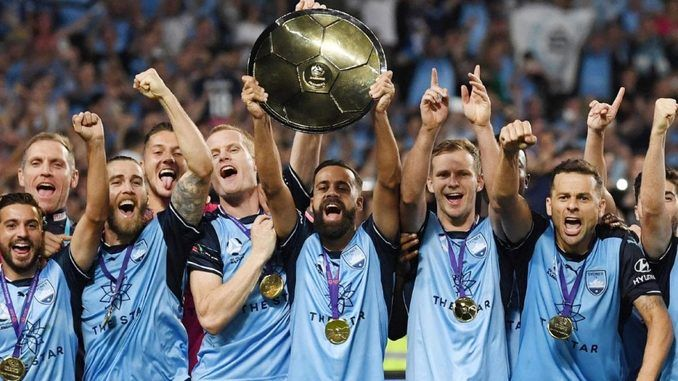 Photo of Sydney FC holding the A-League's Premiership Plate on Fri 14 April 2018