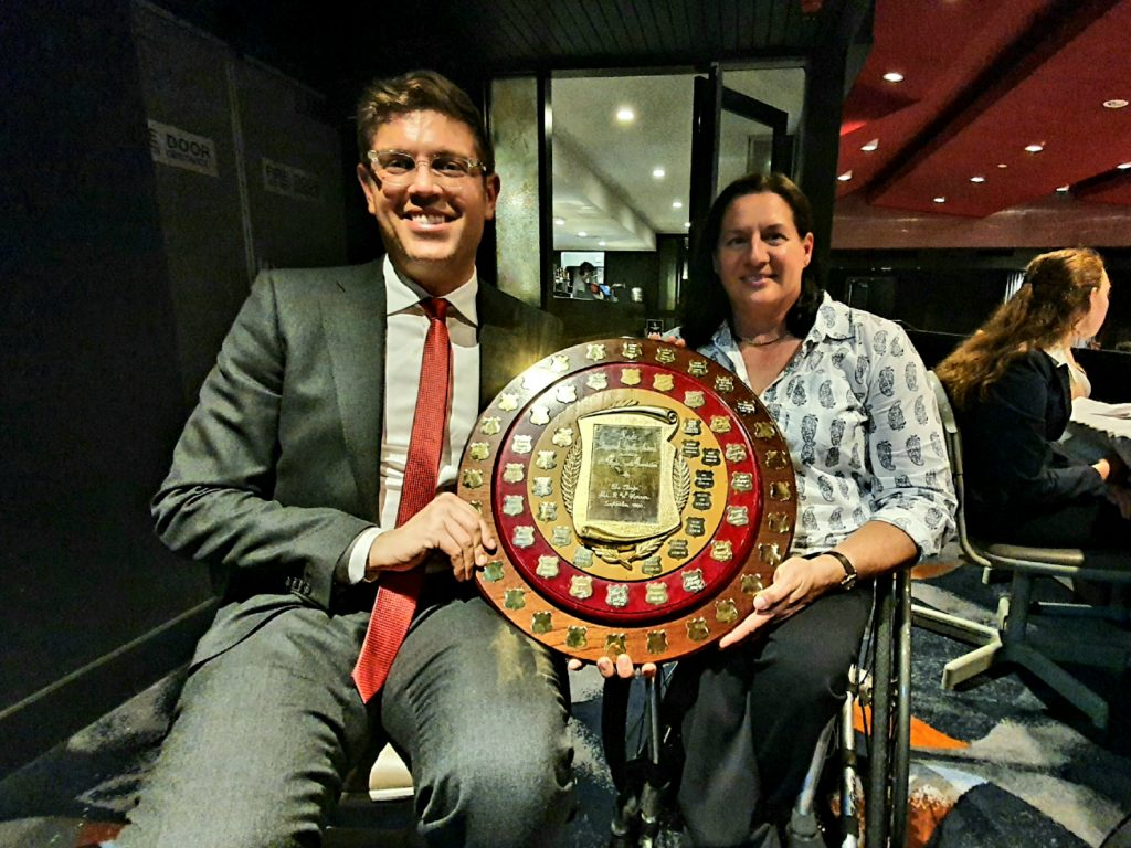 Photo of Patron, City of Ryde Mayor, Jerome Laxale, presenting Louise Sauvage OAM with the Ryde Sports Foundation Sports Star of the Year Award 2019-2021 as Nic Beveridge was an apology to accept this award.